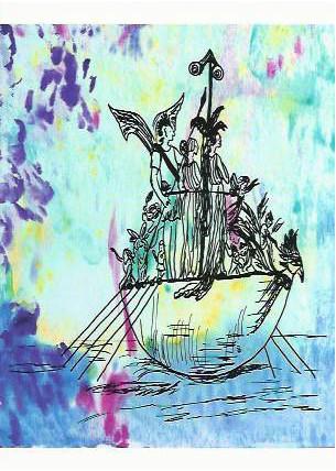 Postkarte Feenboot